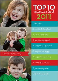 Christmas Photo Card. Top 10 reasons we loved 2011. Great idea from Shutterfly