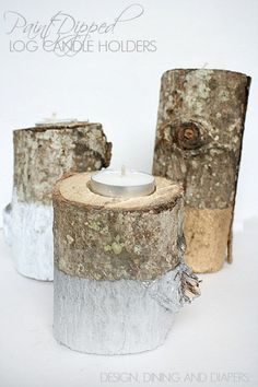 Paint Dipped Log Candle Holders!