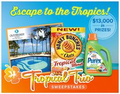 SWEEPSTAKES $$ Enter the Escape to the Tropics Sweepstakes for a Chance at Winning a Vacation + More!