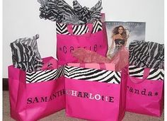 cute ideas here. SATC themed party. Gift bags for games with characters of SATC.