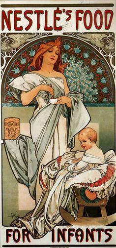 alfons mucha | Nestlé's Food for Infants alphons mucha, mothers day, infant, baby art, baby foods, condensed milk, art deco, alphonse mucha, art nouveau