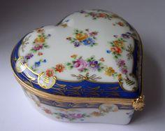 Tiffany Co 1983 Private Stock Porcelain Heart Trinket Box Limoges France | eBay