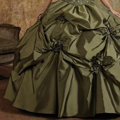 Olive Green Victorian Edwardian Era Fashion Clothing Dresses Ball Gowns + Bolero SKU-303013