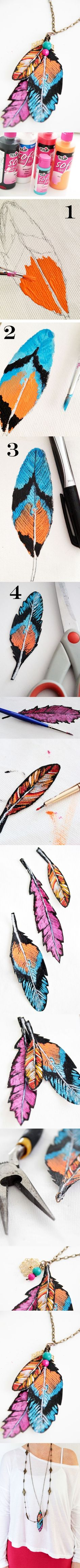 craft, painted feathers, pendant, art, diy necklace