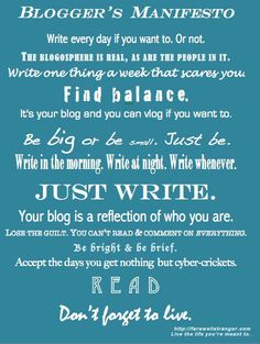 Aaah...some blogging perspective!