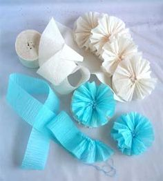 Rosettes made from crepe paper streamers