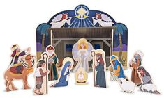"""Wood Nativity Playset  This child-friendly, heirloom quality wooden nativity set provides a """"please touch"""" holiday experience. The four-piece stable is easy to assemble and the 11 chunky wood figures encourage your child to re-enact the events of that Christmas Day long ago. A retelling of the Christmas story is included on the package to help create a treasured family tradition for the holiday. Double-sided cradle piece is empty on one side and reveals the Baby Jesus on the other! Dimensions: 1"""