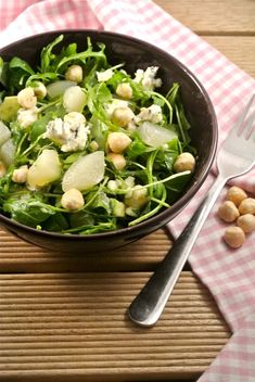 Salad with pear, Roquefort blue cheese and avocado