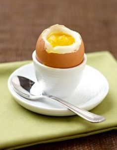 Boiled Eggs:      4 minutes for a soft-boiled egg: the white is set and the yolk is runny  5-6 minutes for a medium-boiled egg: the white is cooked and the yolk is cooked but still soft  10-15 minutes for a hard-boiled egg; both the white and yolk are firm