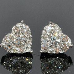 Diamond Heart Earring Solitaire 1.75ctw 14K White Gold ~ Colette Le Mason @}-,-;—