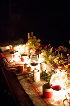 A holiday dinner party by candlelight
