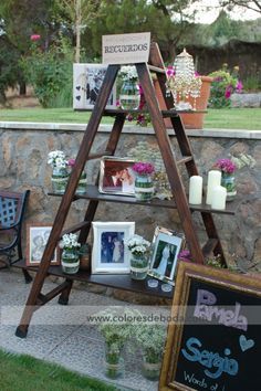 Photo Display with vintage ladder