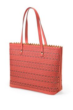 Geranium Perf Modern Laser Cut Out Tote Bag | Avalon Tote | Stella & Dot
