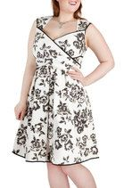 Wrapped in Joy Dress in Black - Plus Size from ModCloth