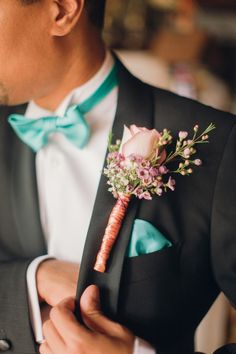 rose boutonniere, photo by Peter and Veronika http://ruffledblog.com/pastel-slovak-wedding #boutonnieres #grooms
