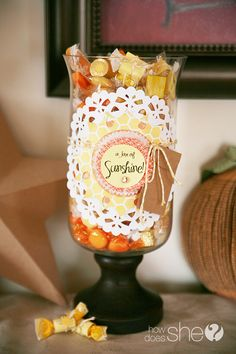 Give Mom a Jar of Sunshine this Year..full of bright candies with wrapped with love notes!