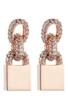 Eddie Borgo Short Pave Chain Small Padlock Earring Holiday 2012