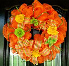 Bright Orange Summer Deco Mesh wreath