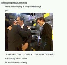 Even Matt Smith is Cumberbatched...hahahaha geek, stuff, blue box, funni, doctor whosherlock, fandom, benedict cumberbatch, matt smith, cumberbooti