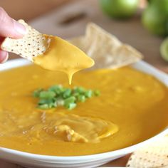 """Nacho """"cheese"""" made from puréed carrots, potatoes, and lemon juice. This sounds funny but this was seriously amazing! John is a hard sell on vegan recipes but he loved this!"""