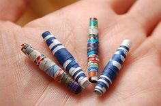 How to Make Paper Beads - (THIS SITE SHOWS/GIVES INSTRUCTIONS)