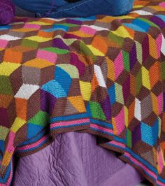 Knit this colorful 3-D blocks blanket!