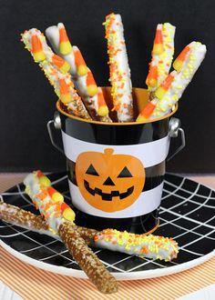 Easy Halloween Treat!! Candy Corn Pretzel Sticks