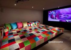 beds, movi room, movie rooms, colors, hous