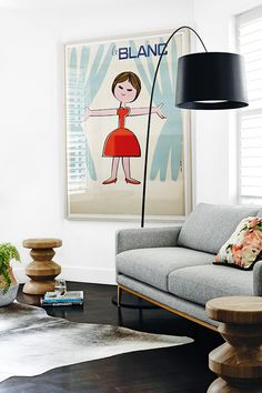 oversized poster in living room