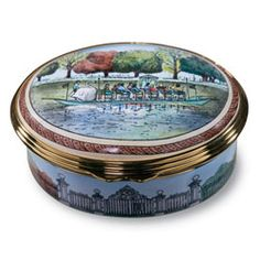 hand paint, trinket box, halcyon enamel, enamel swanboat, swanboat box