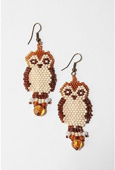 Beaded owl earrings