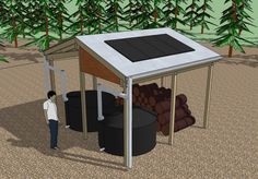 simple water system; an open 16′ by 16′ shed that collects rain water in two 350 gallon tanks, houses a small pv solar system, and shelters firewood.