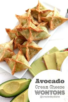 Avocado Cream Cheese Wonton Appetizer | Created by Diane