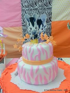 Pink Zebra Birthday Party cake!  See more party ideas at CatchMyParty.com!