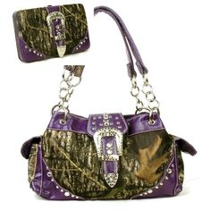 Western Purple Camouflage Buckle Rhinestone Purse W Matching Wallet  In Stock: $62.99