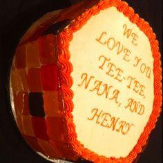 Birthday cake with handmade candy tiles