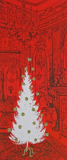 White Christmas tree, red room, greeting card. 1950s
