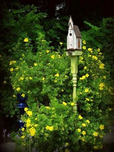 Make a Flea Market bird house post A rose climbs Kirk Willis's porch post