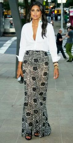 Rachel Roy... this looks like a native skirt from Nigeria! I am very fond of Ms. Roy.. for her industrious spirit and her fashion. dress shirts, fashion, celeb style, formal dresses, rachel roy style, skirtth style, rachel royon, white shirt and skirt, maxi skirts