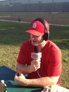 David Freese doing a radio interview while in Florida
