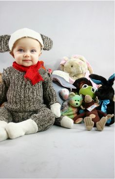 Sock monkey baby Halloween costume from a recycled sweater!