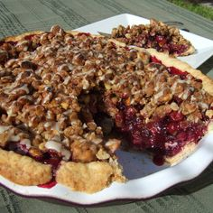 Vegan Blueberry Cranberry Pie with Walnut Streusel Topping  vegan, plantbased, Earth Balance, Made Just Right