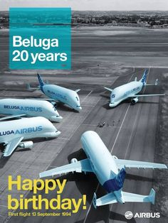 """20 years of #Beluga 13 Sep 1994 - It is key for all #Airbus programmes and is used to carry #aircraft parts over their sites in Europe. The fleet is made of 5 aircraft. Beluga was a nickname given to the A300-600ST """"Super Transporter"""""""