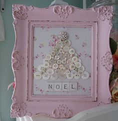 sweet button tree with pretty pink frame