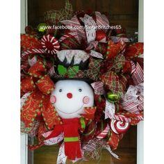 Whimiscal Snowman Christmas Wreath