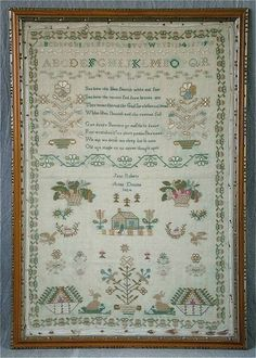 1824 Silkwork Sampler by Jane Roberts