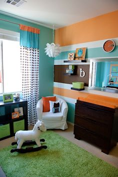 #Orange #stripes look awesome with #chocolate & #turquoise in the #nursery.