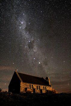 Stars over the Church of the Good Shephard - Lake Tekapo, New Zealand