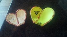 Hearts made out of the covers of baseball and softball