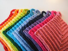 A Rainbow of Dishcloths, free pattern by Apple Blossom Dreams